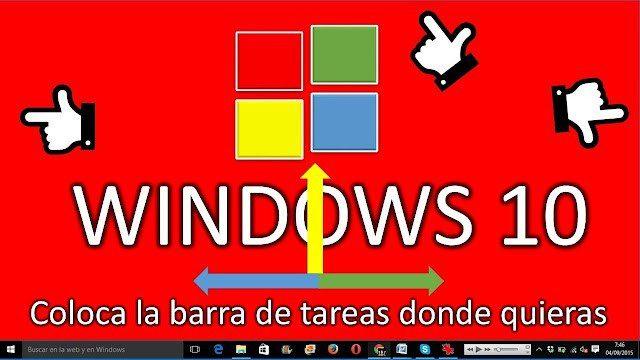 como mover la barra de tareas en windows 10