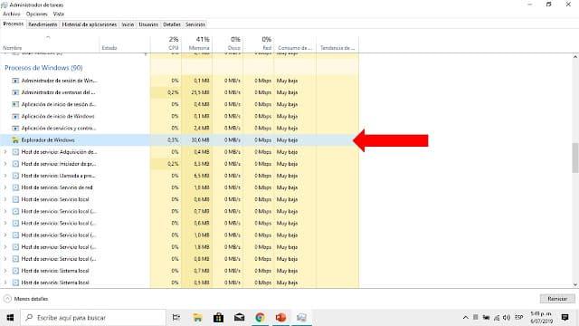 reiniciar administrador de windows para que la barra de tareas se restaure