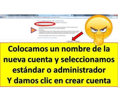 seleccionar tipo de cuenta de usuario en windows 7