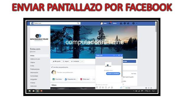 cómo enviar un pantallazo en facebook