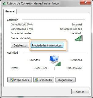 propiedades de red wifi